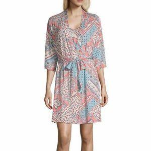 Ambrielle sleepwear pink floral tie robe S